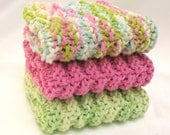 Knit Dishcloth Cotton Washcloth Hand Knitted Lime Green Fuchsia Pink Aqua Blue Spring Pastel Kitchen Bathroom Mothers Day Gift - SticksNStonesGifts