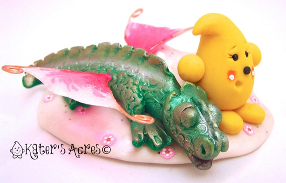 Don't Wake the Dragon Parker - Polymer Clay Sculpted StoryBook Scene by KatersAcres on Etsy