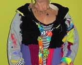 Black and Bright Hoodie Cardigan Upcycled painter sleeves fits small med Lg