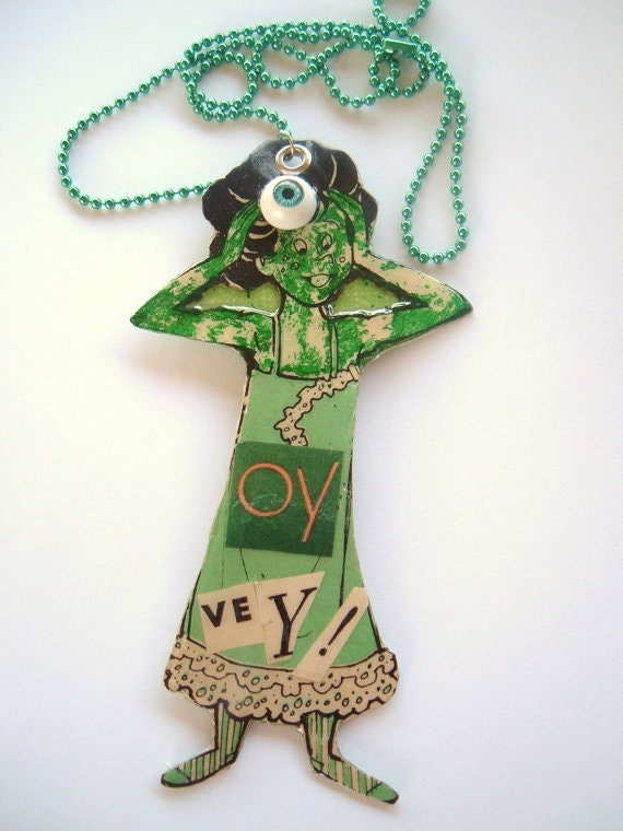 The Green Kook Oy Vey Kitschy decoupage paper pendant necklace
