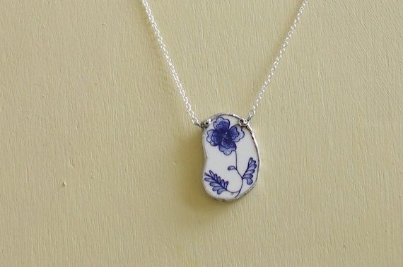 Blue Floral Broken Plate Necklace (medium sized)