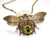 Steampunk Necklace Eye Bee lieve In You Large Bee Necklace Evil Eye Jewelry Couture Jewelry Statement Necklace - DesignsBloom