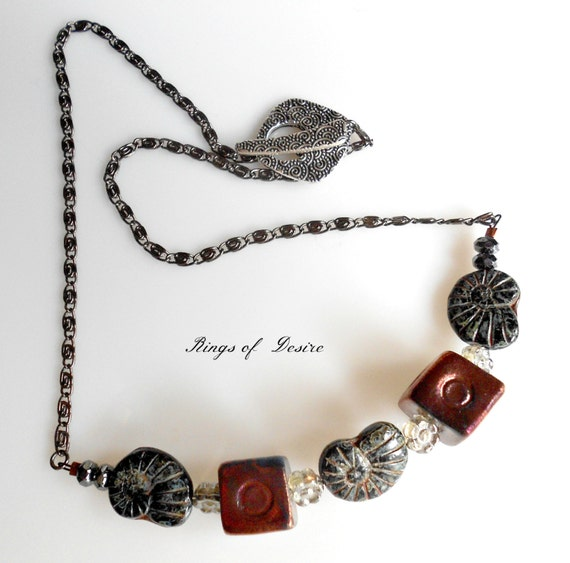 Necklace Copper Raku Pottery Cubes, Black and Green Czech Glass Nautilus Beads, Gun metal Chain