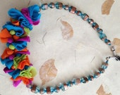 Summer Multicolored fabric beads necklace - Wearable art bead necklace