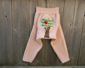 "Upcycled Wool Longies Soaker Cover Diaper Cover Light Pink With ""I Love Tree"" Applique LARGE 12-24M Kidsgogreen"