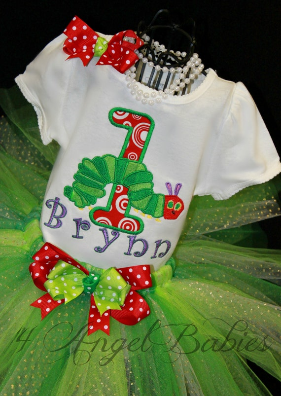 3 Piece The Very HUNGRY CATERPILLAR Applique Girls First Birthday Glitter Tutu Outfit with Top, Headband, and Tutu
