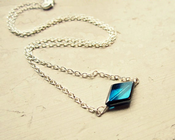 Four Diamonds Necklace // Thon Fundraising Jewelry // Sterling Silver // Blue Glass Beads