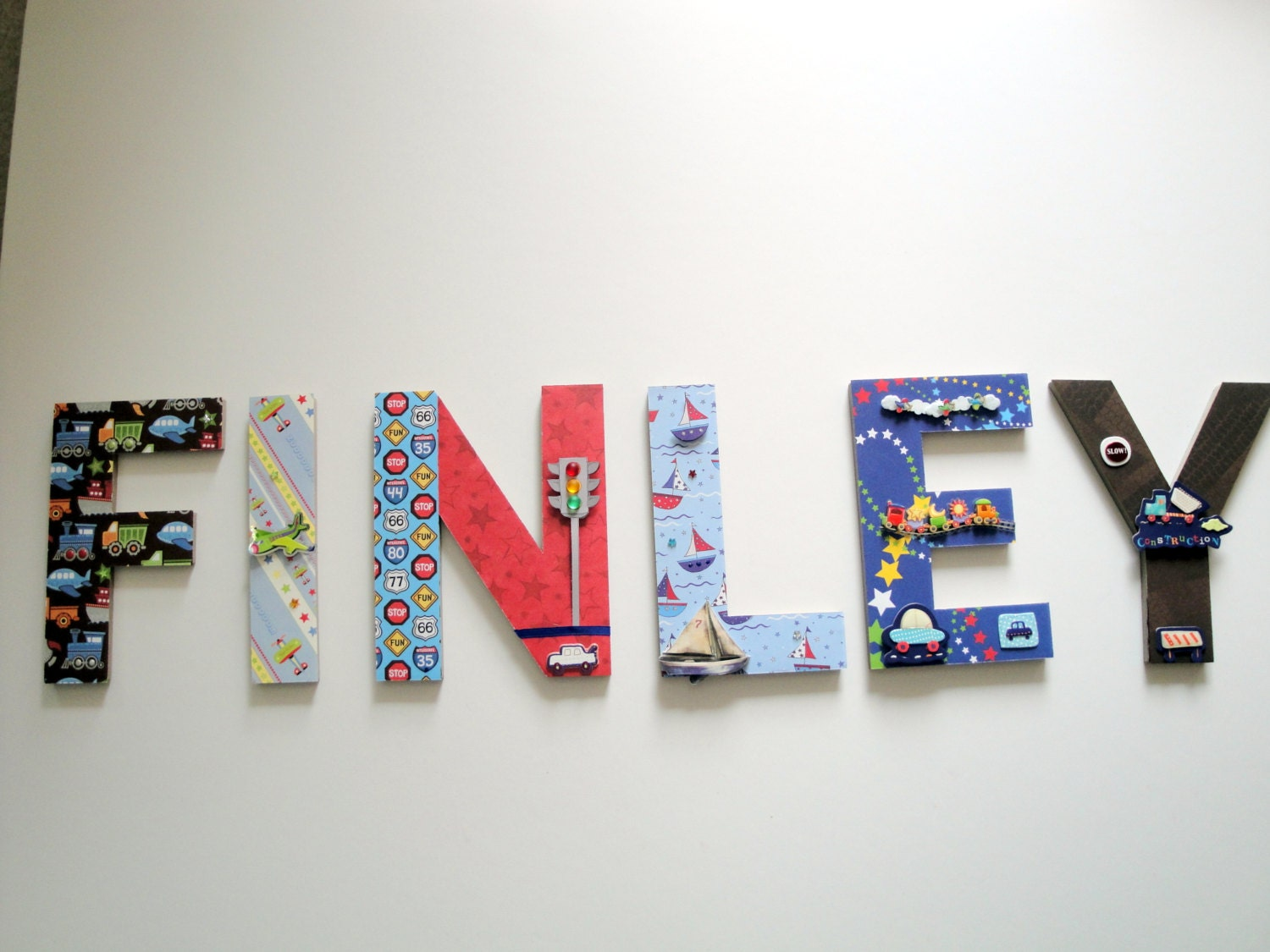 Personalized Wall Decor Letters : Transportation nursery wall letters d by bearyspecialscrappin
