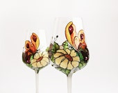 Wine Glasses Hand Painted Set of 2 Butterfly and Flowers - NevenaArtGlass