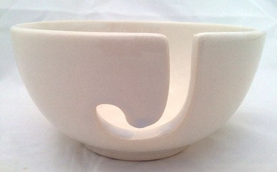 White Ceramic Yarn Bowl - Hand Painted - Kiln Fired - White