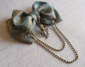 Hair bow or Brooch blue green bow bronze octopus and chain steampunk sailor lolita - LittleBanshees
