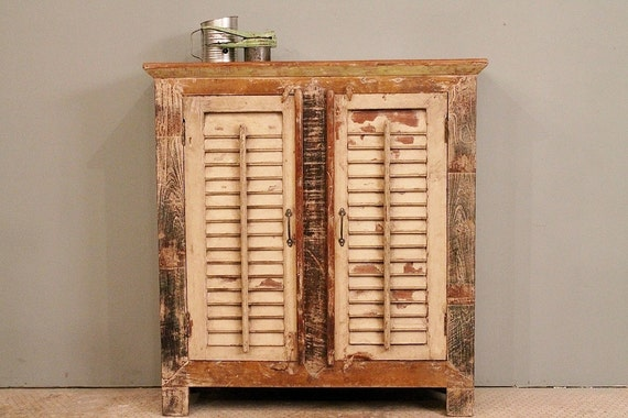 Reclaimed Indian Distressed Cream and Green Shutter Sideboard Storage Cupboard Media Stand