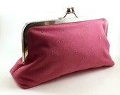 SALE/Ready to Ship/Honeysuckle Pink Linen Clutch Handbag - Eyelah