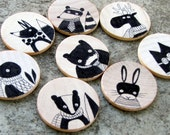 Set of Eight Hand Drawn Whimsical Animal Magnets, Original Art by Andrea Doss - andralynn