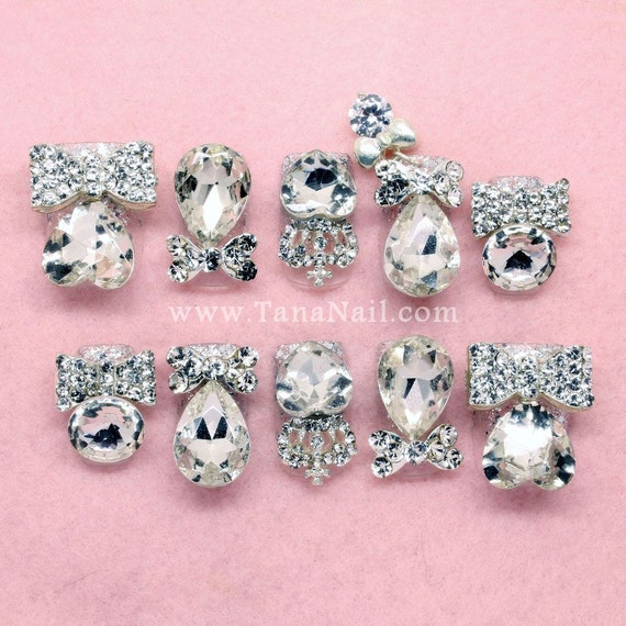 Japanese 3D Nail Art, Press On Nails, False Nails - Silver Rhinestone and Metal Ribbon Decoration (T121N)