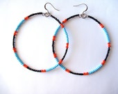African & Tribal Inspired Large Beaded Hoops - Black, Turquoise with Red, Orange accents (La NomRah x Vibrant) - LaNomRahDesigns