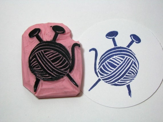 Knitting Needle and Wool Hand Carved Rubber Stamp