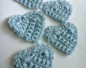 5 Blue Crochet Heart Appliques Crochet Baby Blue Sky Blue Light Blue Heart Appliques