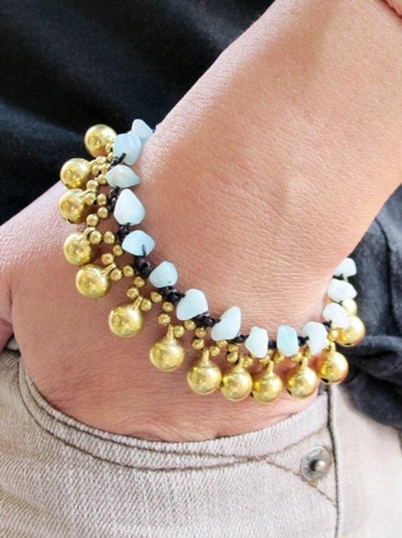 Round Brass Bell and  Stone Bracelet