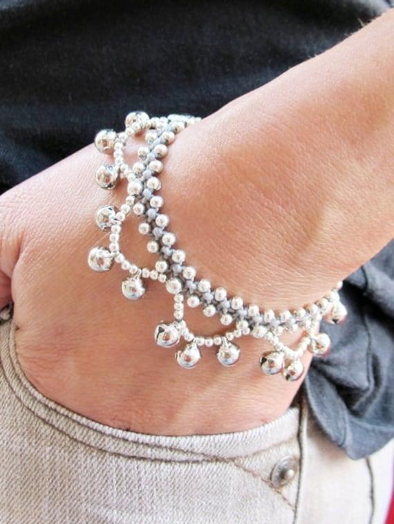 Silver Plated Beaded Ring Ring Bracelet