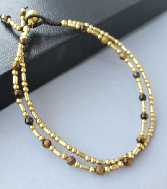 Double Strand Ankle Bracelet with Fancy Brass Bead and Tiger Eye Bead