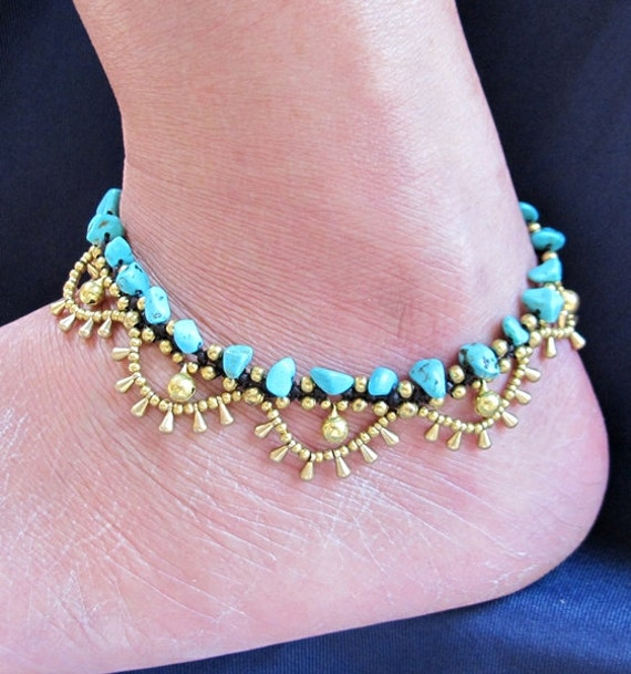 Charm Cascade Ankle Bracelet with Brass Bell and Nugget Turquoise