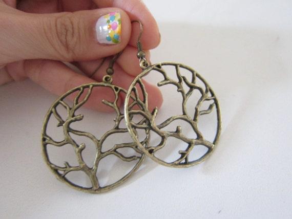 Tree of Life Brass Tone Earrings