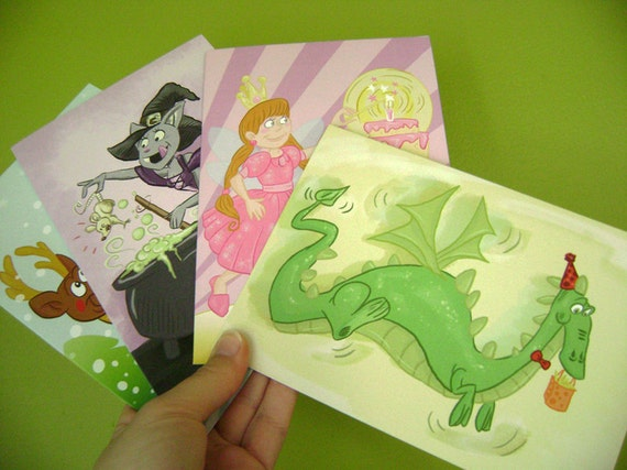 Set of 4 Blank Greeting Cards 5 X 7-  Cute Cartoon Dragon Fairy Cat Witch - You choose the designs
