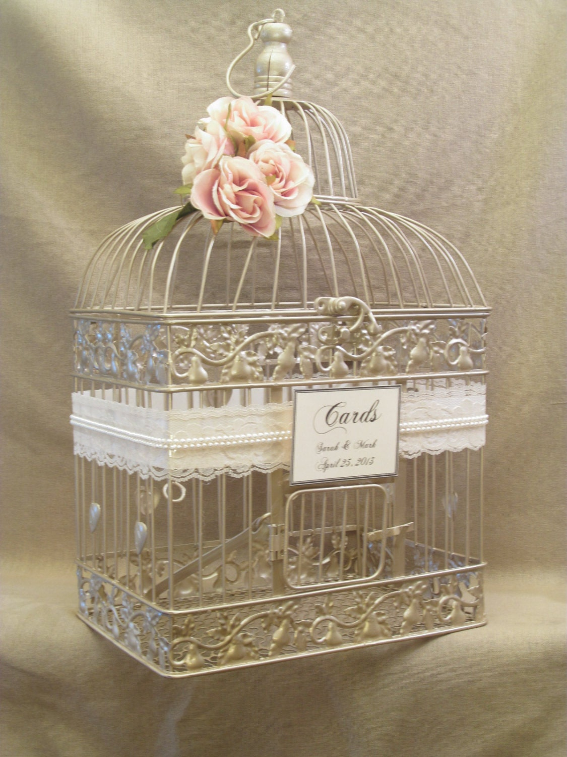 Wedding card box champagne birdcage pearls bird cage wedding card holde - Decoration cage oiseau ...