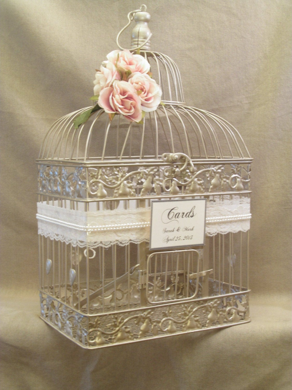 wedding card box champagne birdcage pearls bird cage wedding card holder elegant gold. Black Bedroom Furniture Sets. Home Design Ideas