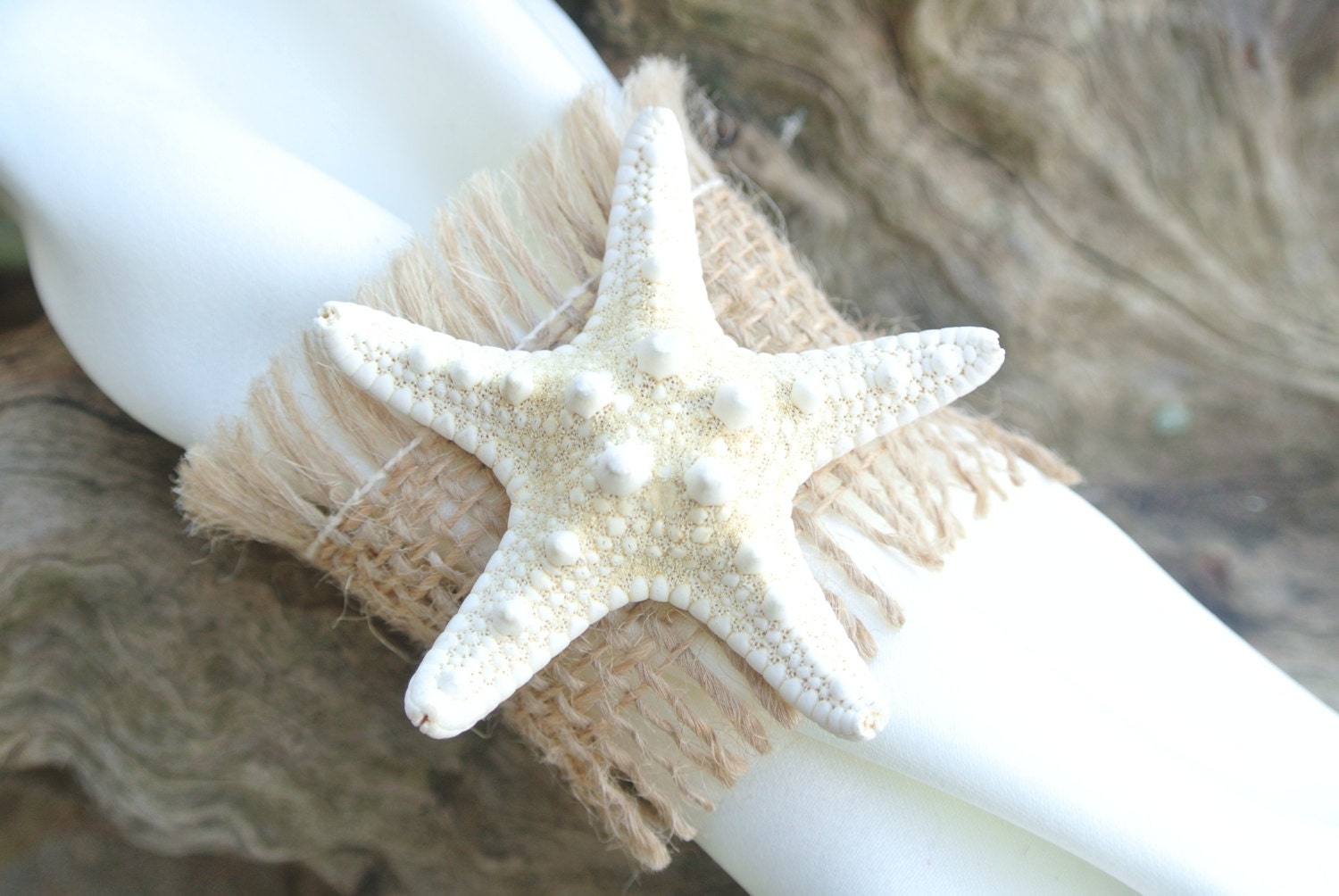 Burlap starfish napkin rings beach wedding table by jcbees
