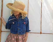 summer cowgirl denim levi blue indigo upcycled cowboy western rustic toddler child lace jacket - kateblossom