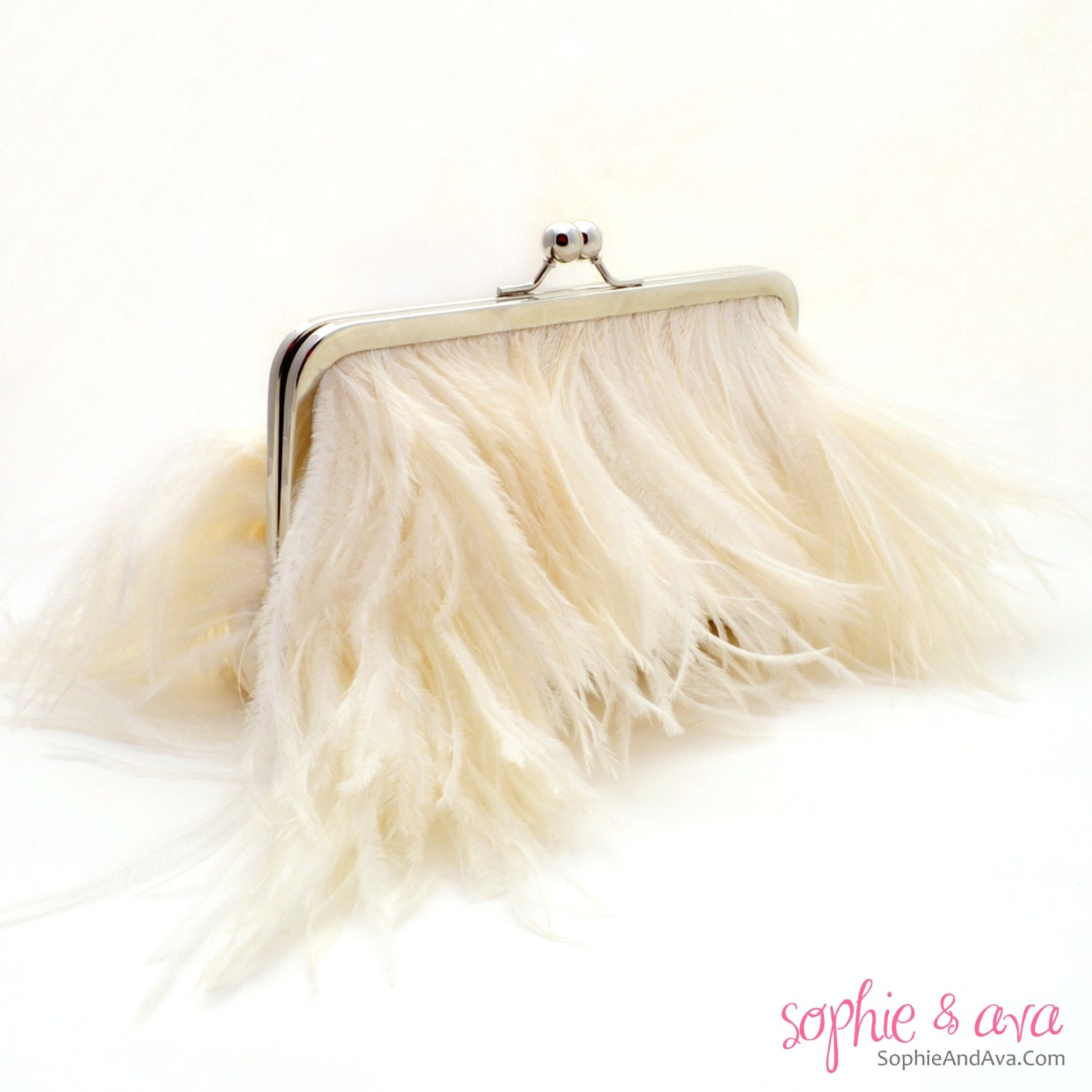 The Grace Ostrich Feather Bridal Clutch in Ivory by SophieAndAva.com