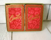 Vintage playing card decks faux flocked wallpaper red Canasta 1950s