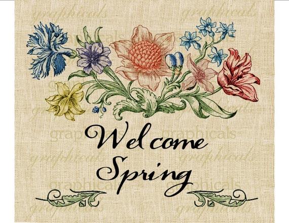Весна цифрового скачивания изображений приветствовать весну старинные цветочные цветы передать бумаги мешковина ткань подушки сумки карты номер 574