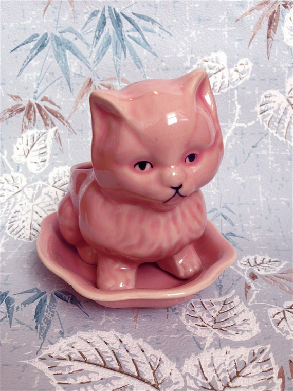 Vintage Kitsch Cuteie Pie  Pink Kitty Cat Planter