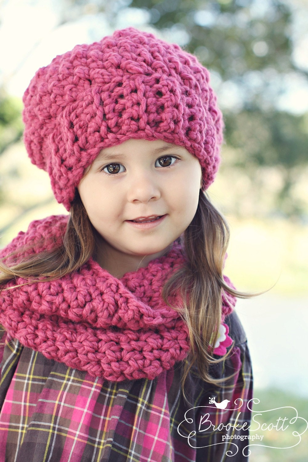 Childrens Crochet Hat & Scarf Set Slouchy Hat and Infinity Scarf  Crochet Childrens Scarf