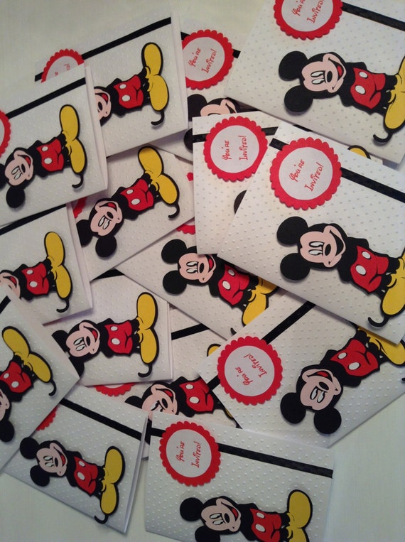 AlishaKayDesigns Handmade Mickey Mouse Invitations – Handmade Mickey Mouse Birthday Invitations