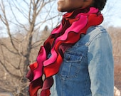 Twisty Toasty Scarlet and Pink Scarf - LizaJaneNorman