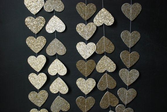 6' Glittered Heart Garland