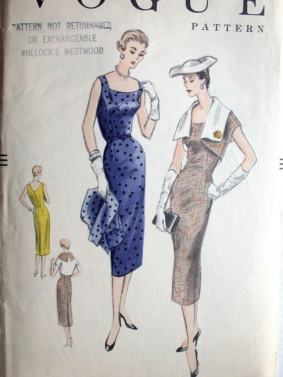 "Vogue Dress Pattern No 8561 Vintage 1950s Size 16 Bust 34"" Non Printed Sleeveless Wiggle Dress Slim Skirt Wide Collar Reversible Bolero"