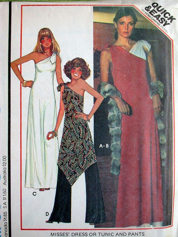 "McCalls Dress Pattern No 5371 UNCUT Vintage 1970s Size Medium 14 16 Bust 36"" 38"" One Shoulder Evening Dress or Tunic and Pants Shoulder Ties"