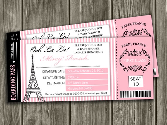 Paris Themed Baby Shower Invites with adorable invitation ideas