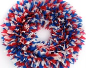 "Ready to Ship --- The Indoor/Outdoor Zinnia Wreath in Red, White & Blue --- 16"" Round"