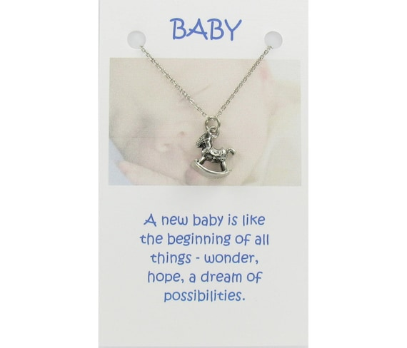 ROCKING HORSE Pewter Necklace on Gift Card with Quote