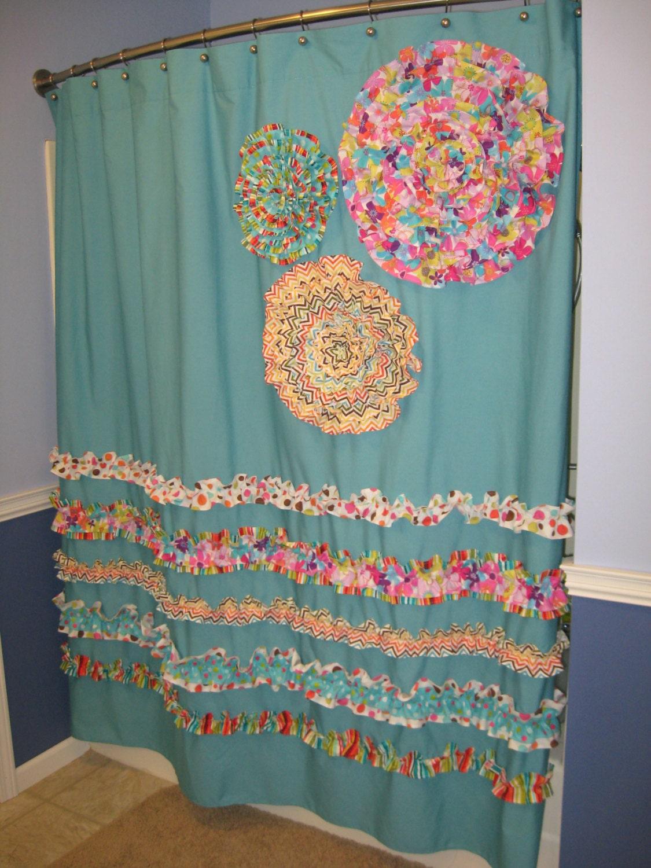Aqua And Brown Shower Curtains Modern Home Exteriors