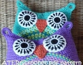 Crochet pattern owl cushion by ATERGcrochet in two sizes