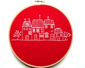 Dutch Houses Embroidery on Red Linen - Wall Art - CandykinsCrafts