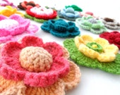 Crochet Applique -  Multicolored Flowers  - Any Colour - Made to Order - CraftsbySigita