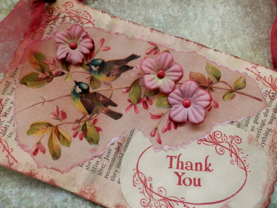 "OOAK Mixed Media ""THANK YOU"" Card/Hang-up - Repurposed - Vintage"
